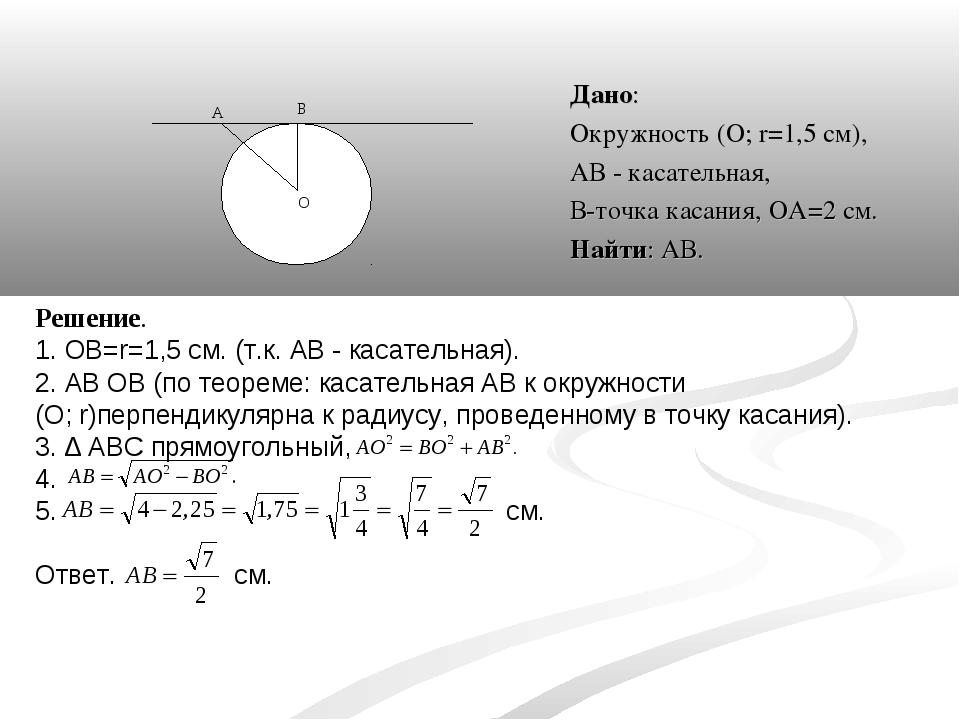 Дано: Окружность (О; r=1,5 см), АВ - касательная, В-точка касания, ОА=2 см. Н...