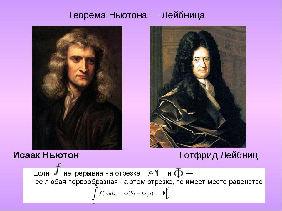 Исаак Ньютон Готфрид Лейбниц Если непрерывна на отрезке и ...