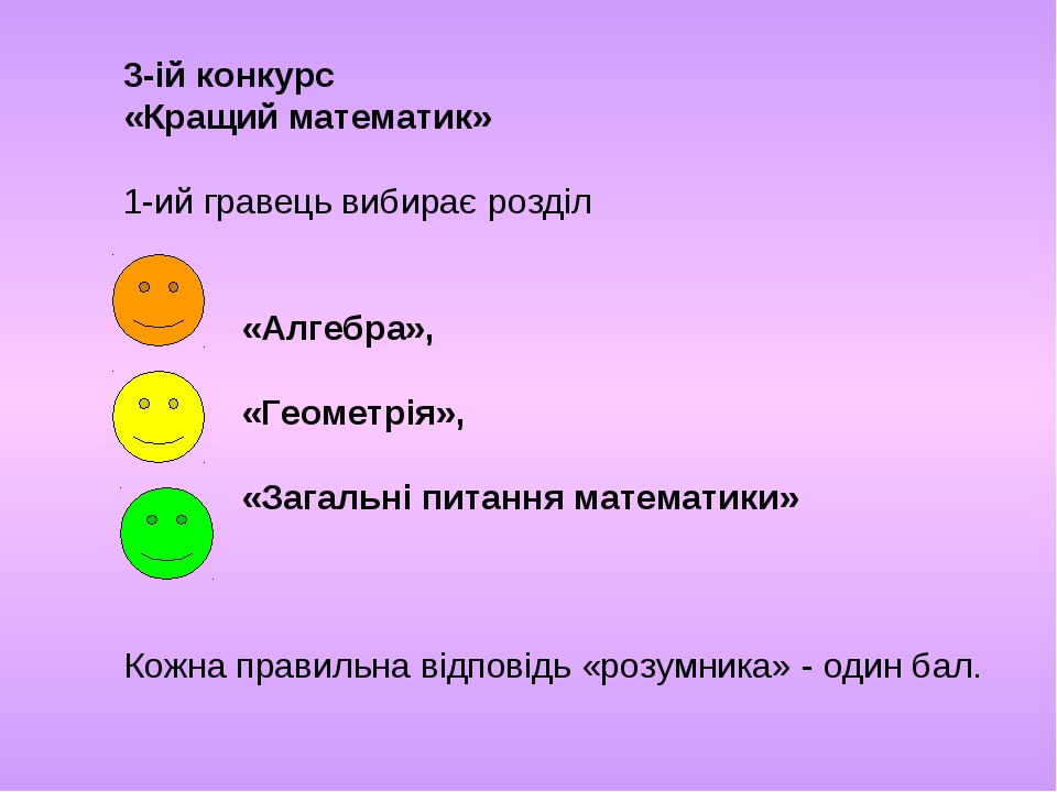 3-ій конкурс «Кращий математик» 1-ий гравець вибирає розділ «Алгебра», «Геоме...
