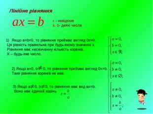 Лінійне рівняння x - невідоме a, b- деякі числа Якщо a=b=0, то рівняння прийм