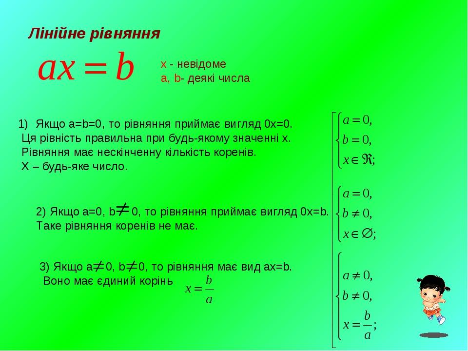 Лінійне рівняння x - невідоме a, b- деякі числа Якщо a=b=0, то рівняння прийм...