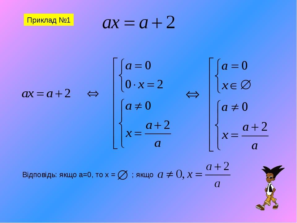 Приклад №1 Відповідь: якщо а=0, то х = ; якщо