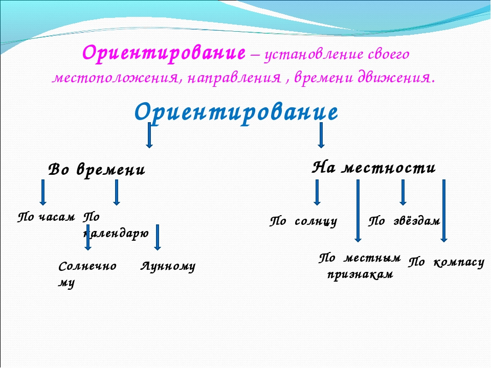 Ориентирование – установление своего местоположения, направления , времени дв...