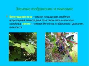 Значение изображения на символике Виноградная лоза—символ плодородия, изобил