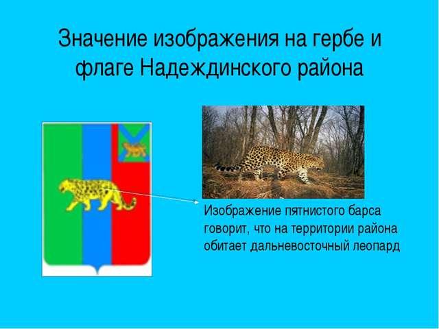 Значение изображения на гербе и флаге Надеждинского района Изображение пятнис...