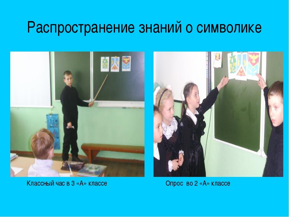 Распространение знаний о символике Классный час в 3 «А» классе Опрос во 2 «А»...