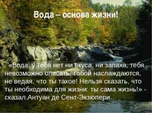 Вода – основа жизни! «Вода, у тебя нет ни вкуса, ни запаха, тебя невозможно о