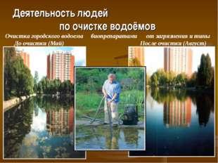 Деятельность людей по очистке водоёмов Очистка городского водоема биопрепара