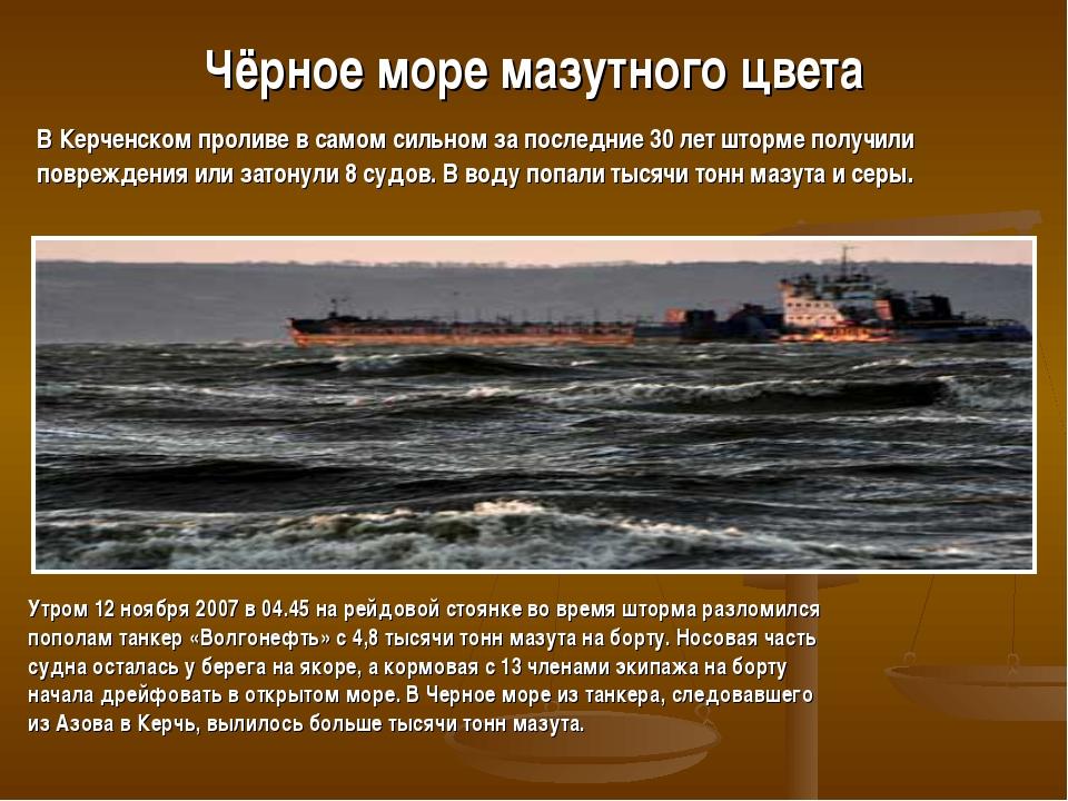 Чёрное море мазутного цвета Утром 12 ноября 2007 в 04.45 на рейдовой стоянке...