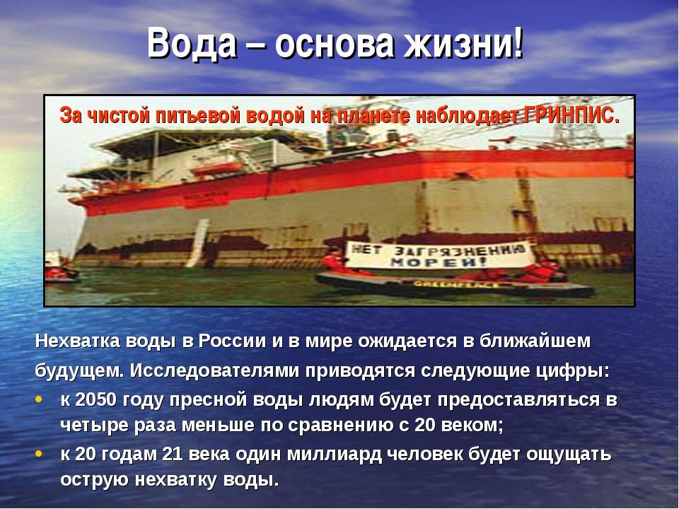 Вода – основа жизни! Нехватка воды в России и в мире ожидается в ближайшем бу...