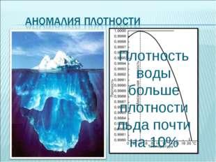Плотность воды больше плотности льда почти на 10% Плотность воды наибольшая п