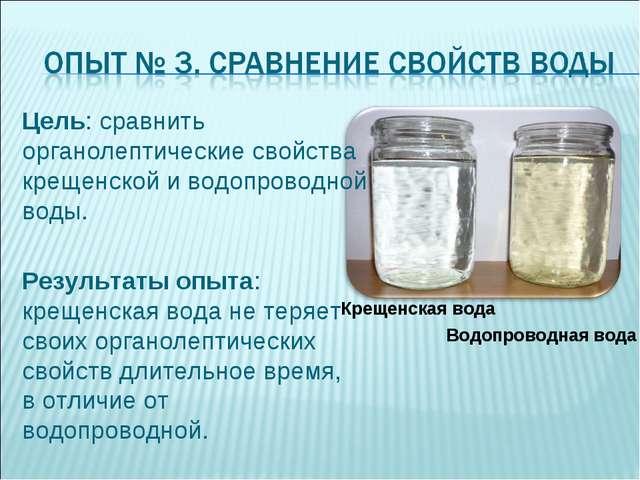 Крещенская вода Водопроводная вода Цель: сравнить органолептические свойства...