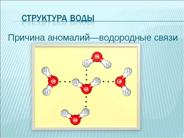Причина аномалий—водородные связи