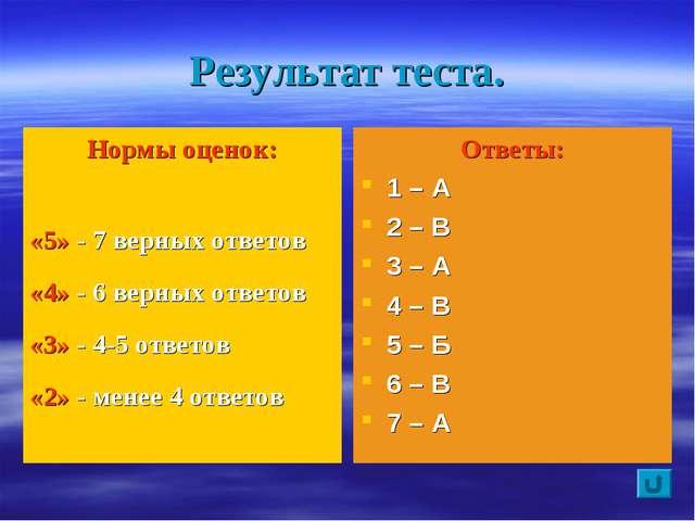 Результат теста. Нормы оценок: «5» - 7 верных ответов «4» - 6 верных ответов...