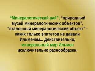 """""""Минералогический рай"""", """"природный музей минералогических объектов"""", """"эталонн"""