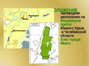 ГЕОГРАФИЧЕСКОЕ ПОЛОЖЕНИЕ Заповедник расположен на Ильменском хребте Южного У