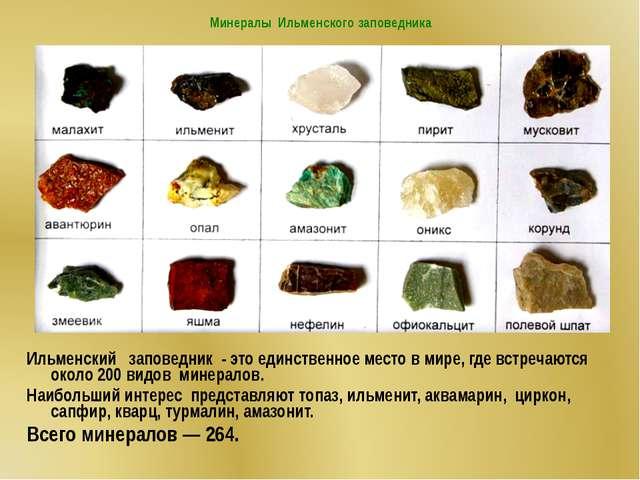 Минералы Ильменского заповедника Ильменский заповедник - это единственное ме...