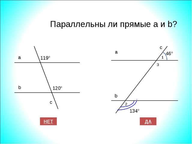 Параллельны ли прямые а и b? 119° а b с 120° ДА НЕТ