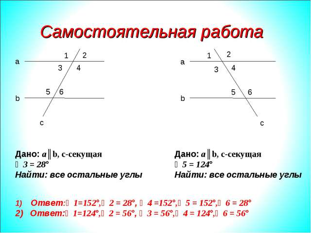 Самостоятельная работа а b a b c c 1 2 3 4 5 6 1 2 3 4 5 6 Дано: a║b, c-секущ...