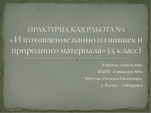 Учитель технологии МБОУ «Гимназия №9» Матузко Наталья Евгеньевна г. Усолье -