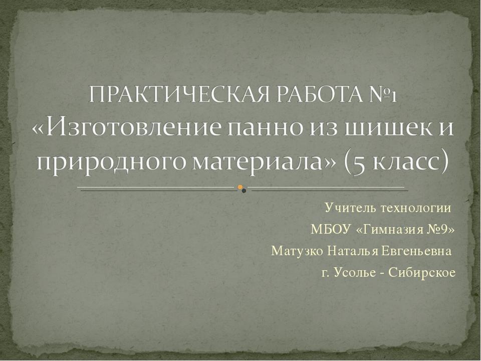 Учитель технологии МБОУ «Гимназия №9» Матузко Наталья Евгеньевна г. Усолье -...