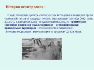 История исследования: В ходе реализации проекта «Экологическое исследования в