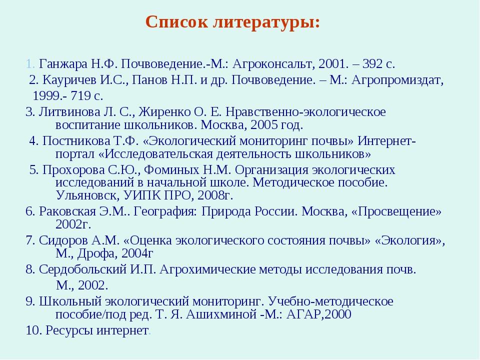 Список литературы: 1. Ганжара Н.Ф. Почвоведение.-М.: Агроконсальт, 2001. – 39...