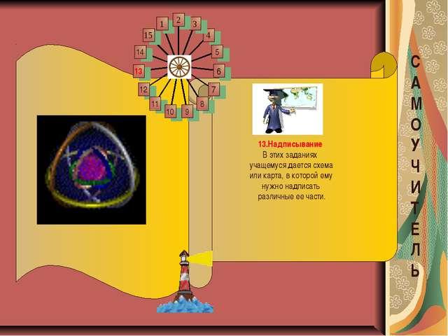 13.Надписывание Вэтих заданиях учащемуся дается схема или карта, вкоторой е...