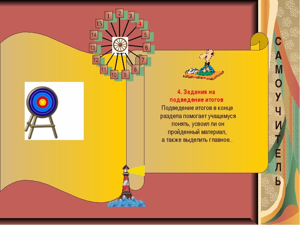 4. Задания на подведение итогов Подведение итогов вконце раздела помогает у...