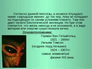 Согласно данной гипотезы, в космосе блуждают некие «зародыши жизни» до тех