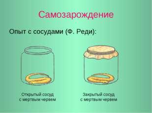 Самозарождение Опыт с сосудами (Ф. Реди): Открытый сосуд с мертвым червем Зак