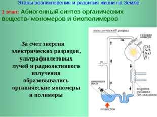 Этапы возникновения и развития жизни на Земле 1 этап: Абиогенный синтез орган
