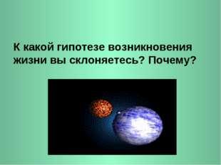 К какой гипотезе возникновения жизни вы склоняетесь? Почему?