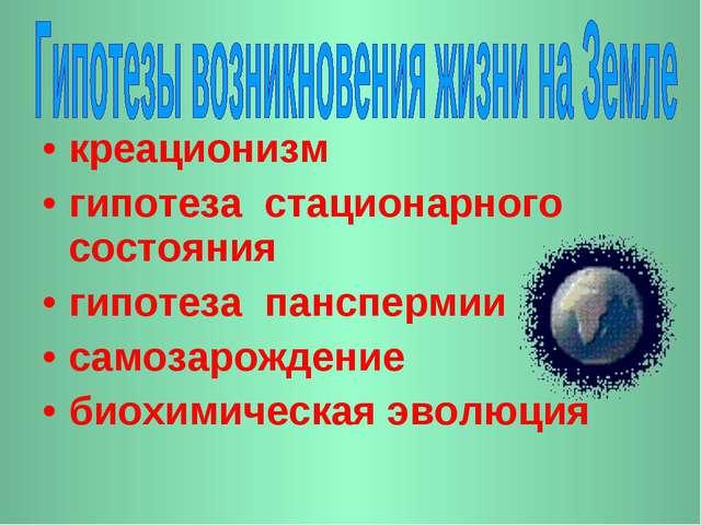 креационизм гипотеза стационарного состояния гипотеза панспермии самозарожден...