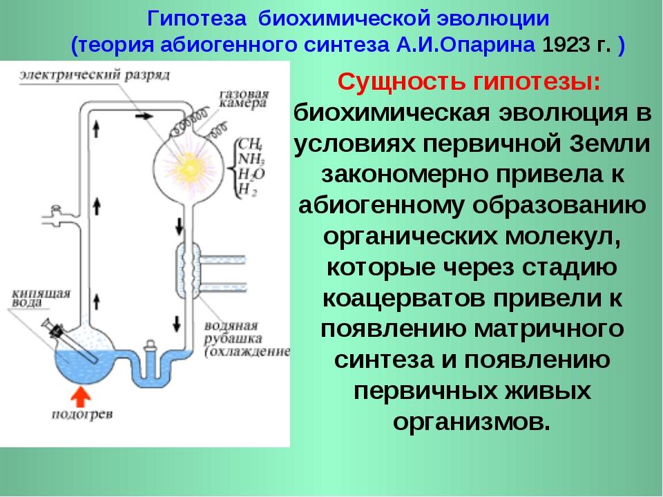 Гипотеза биохимической эволюции (теория абиогенного синтеза А.И.Опарина 1923...