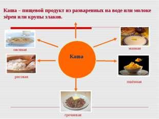 Каша – пищевой продукт из разваренных на воде или молоке зёрен или крупы злак