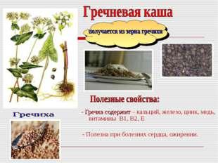 - Гречка содержит – кальций, железо, цинк, медь, витамины В1, В2, Е - Полезн