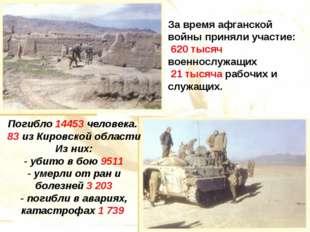 За время афганской войны приняли участие: 620 тысяч военнослужащих 21 тысяча