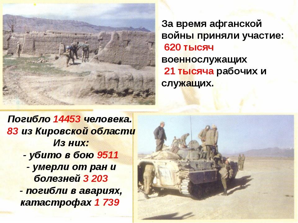 За время афганской войны приняли участие: 620 тысяч военнослужащих 21 тысяча...