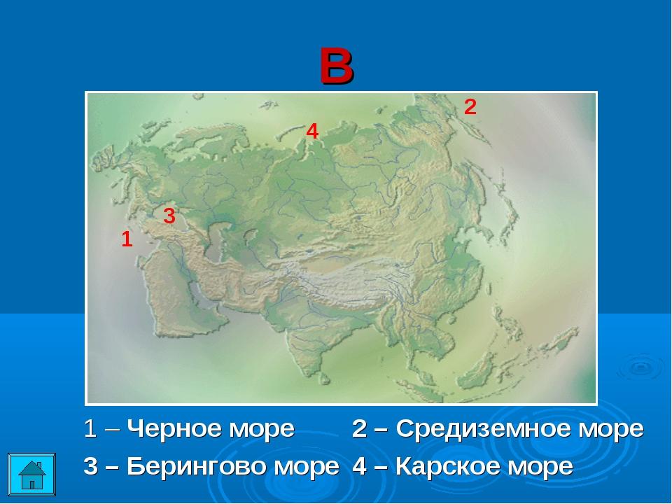 В 1 – Черное море2 – Средиземное море 3 – Берингово море4 – Карское море 3...