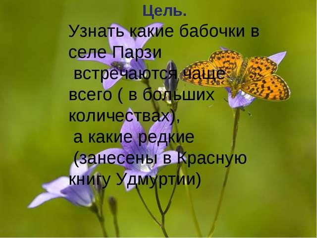 Цель. Узнать какие бабочки в селе Парзи встречаются чаще всего ( в больших ко...