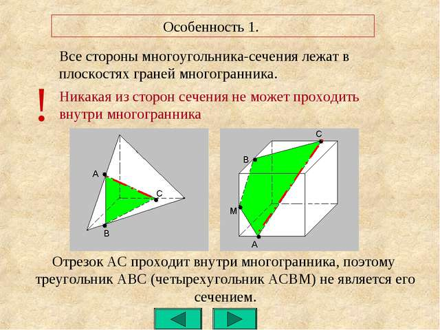 Особенность 1. Все стороны многоугольника-сечения лежат в плоскостях граней м...