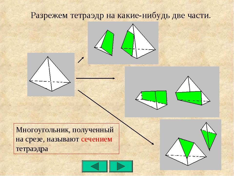 Разрежем тетраэдр на какие-нибудь две части. Многоугольник, полученный на сре...