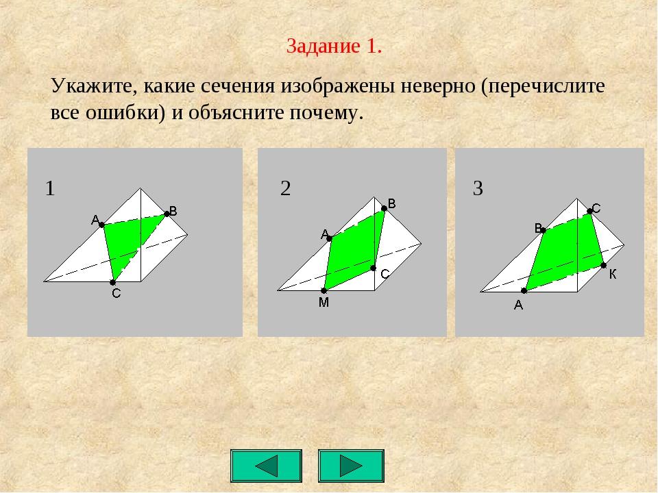 Задание 1. Укажите, какие сечения изображены неверно (перечислите все ошибки)...