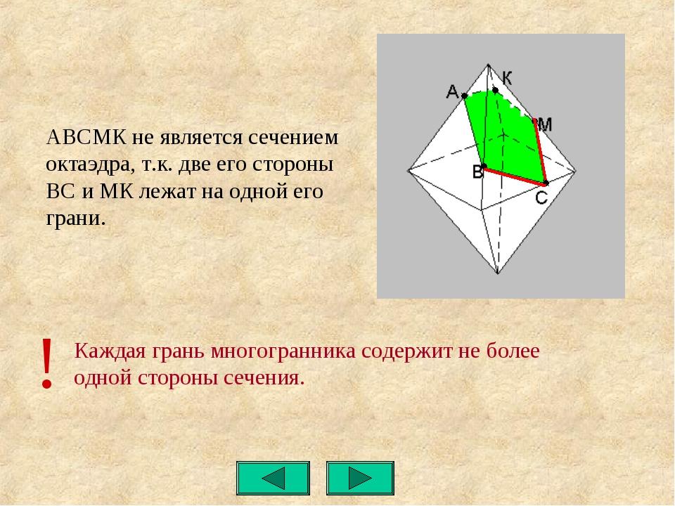 Каждая грань многогранника содержит не более одной стороны сечения. АВСМК не...