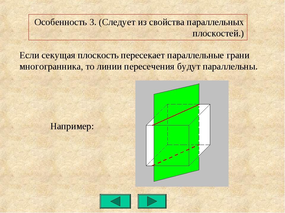 Если секущая плоскость пересекает параллельные грани многогранника, то линии...