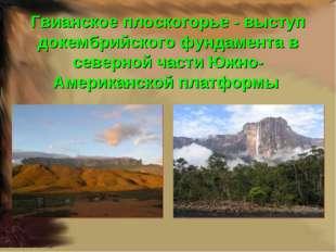 Гвианское плоскогорье - выступ докембрийского фундамента в северной части Южн