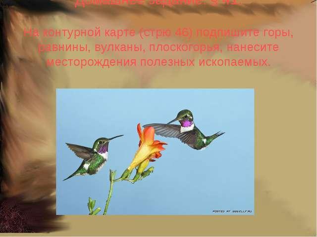 Домашнее задание: § 41. На контурной карте (стрю 46) подпишите горы, равнины,...