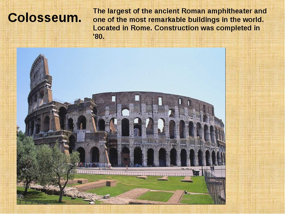 Colosseum. The largest of the ancient Roman amphitheater and one of the most...