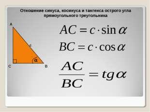 Отношение синуса, косинуса и тангенса острого угла прямоугольного треугольник
